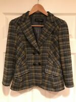 Nanette Lepore Gray Plaid 100% Wool Double Breasted Blazer, Size 8