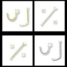 14kt Solid Gold 1.5mm Diamond Nose Ring 20g 20 gauge stud or screw white