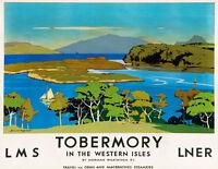 TT94 Vintage 1920's Tobermory LNER LMS Railway Travel Poster A4