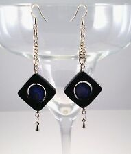 """Earrings Mother-of-Pearl Purple/Onyx Silver Plated Dangle 3.25"""" Handmade GB New"""