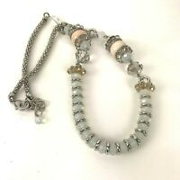Boho Statement Necklace Artisan Chunky Long Opaque Moonstone Faceted Beaded Glam