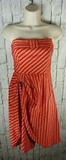 LIL Anthropologie Red Stripe Blazing Rays Bow Front Cotton Dress Sz 2 XS #AA