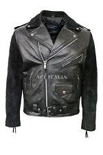 Men's Leather Jacket Black Suede HIDE Classic Motorcycle Biker Style BRANDO