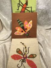 Vintage Handmade Needlepoint Insect Pictures