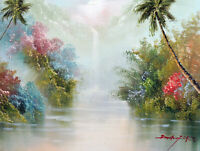 Hawaii Tropical Waterfall Fog Flowers Palm Trees 12X16 Oil Painting  Stretched
