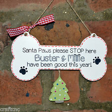 Santa Paws stop here personalised dog gift for Christmas,dog lover novelty sign