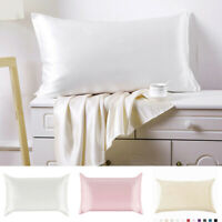 Pure Satin Mulberry Silk anti-age Pillowcase Luxurious Bedding Set Queen7 Color