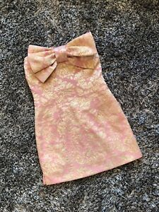NEW WITHOUT TAGS - ARROGANT CAT PINK & GOLD BOW DRESS - PETITE