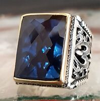 FLASHY Sapphire Turkish 925 Sterling Silver blue stone Mens Man ring ALL SİZE us