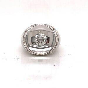 1970's Mauboussin 18k White Gold and Diamond Bague Transparence Ring Size 6