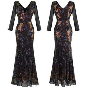 Angel-fashions Women's Deep V Neck Glitter Sequin Long Sleeve Evening Gown 497