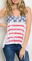 White USA Stars & Stripes American Flag Graphic Racerback Hi-Low Tank Top S M L