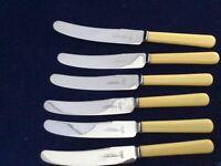"John Hall Cutler Swansea  Faux Bone 9.75"" Dinner Knives - Rare"