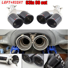 63mm Inlet twin Exhaust Pipe Tail Muffler Tip for car Left + Right Glossy Carbon