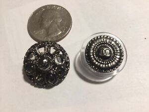 CHANEL Set of 2 Fancy Lucite/Metal Buttons
