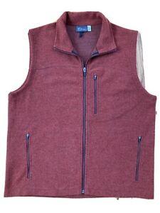 Ibex Men's L Zque Merino Wool Blend Full Zip Vest Maroon Red Outdoor Warm