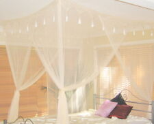 DOUBLE Size Mosquito Net or Cream Bed Canopy 4 Poster Bed Style - Box BED Net