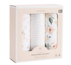 Pottery Barn Kids Meredith Muslin Swaddle Blanket Set of 3 ~ 47 in. Square  NEW