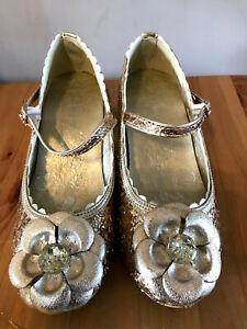 Disney Store Party Shoes BNWT Princess Belle Gold Glitter Size 1uk