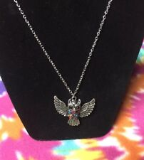 NEW SILVER OWL NECKLACE RHINESTONE CRYSTAL MULTI COLOR PENDANT LONG