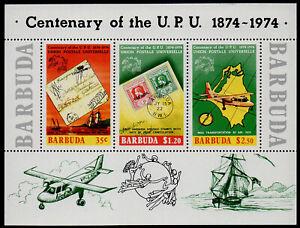 BARBUDA, SCOTT # 169A, SOUVENIR MINI SHEET OF CENTENARY OF THE U.P.U. YEAR 1974