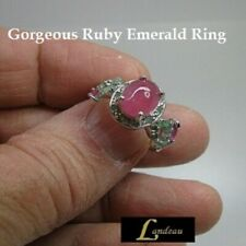 6.88 ct Red Pink Ruby-Emerald Silver Ring