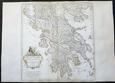 1762 J B D Anville Large Original Antique Map of Greece & Balkans