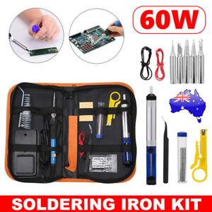 Electric Soldering Iron Kit Solder Welding Stand DIY Tool Adjustable Temperature