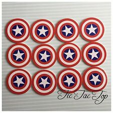 12x Captain America Cupcake Cake Food TOPPER Pick. AVENGERS Lolly Loot Bag Flag
