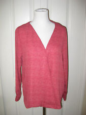 NWT Simply Styled by Sears Missy Surplice Top Red Grid Size L Blouse
