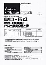 Service Manual-Anleitung für Pioneer PD-S802, PD-54