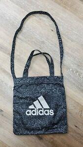 Adidas Black Gray Work Out Handbag Bag 13 x 14 Double Strap Shoulder Bag