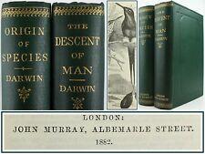 1882*CHARLES DARWIN*ORIGIN OF SPECIES~+~DESCENT OF MAN*FINE ORIGINAL GREEN CLOTH