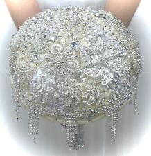 Bridal Wedding Brooch Bouquet Satin Rose Rhinestone Crystal Flower Bouquet,Ivory
