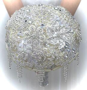 Bridal Wedding Brooch Bouquet Satin Rose Rhinestone Crystal Flower, NEW