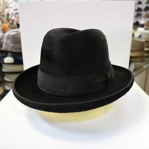 BORSALINO BLACK LONG HAIR FUR FELT HOMBURG DRESS HAT *READ BELOW 4 SIZE
