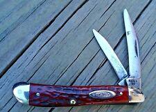 "RARE CASE XX USA 1940-64 PEANUT JACK Pocket Knife #6220 Red Bone 2-7/8"" CLOSED"
