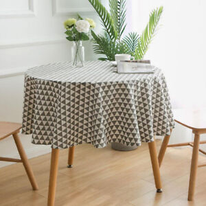Fashion Round Geometric Print Tablecloth Evening Party Dining Table Cloth Decor