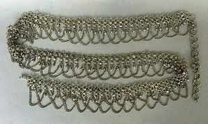PLUS XL SIZE VINTAGE JANGLY SILVER TONE CHAIN BELT eastern egyptian belly dancer