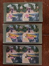 3 T.W. Ingersoll 1898 Vintage Color Stereoscope Slides HOUSEMAID'S HARD LUCK