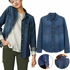Ex Next Ladies Denim Shirt Long Sleeve Button Down Maternity Nursing Shirt Top