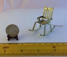 1/16 MINIATURE GOLD COLOR METAL ROCKING CHAIR INSIDE OR FAIRY GARDEN OR ORNAMENT