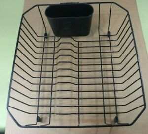 Vintage Rubbermaid Black Coated Wire Dish Drainer Drying Rack w/Utensil Holder