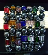 Hematite Magnetic Bracelet - Elastic Colorful Beads Purple