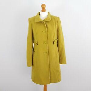 Wallis Women's Yellow Green Longline Collared Overcoat Jacket Casual Size 12