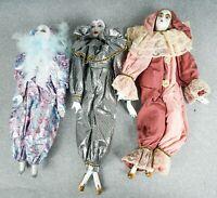 "3 Vintage Harlequin Jester Clown Mardi Gras Handmade Porcelain @16"" Figurines"
