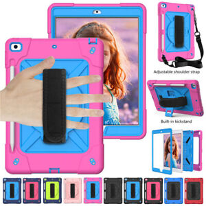 For iPad 9.7 10.2 7th 8th Gen Pro Air 2 Mini Hybrid Shockproof Strap Rugged Case