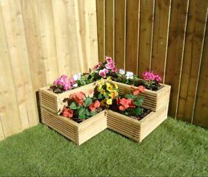 2 Tier Corner Garden Wooden Decking Planter Plant Pot - Steps Herb Flower