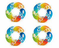 """Intex Inflatable 47"""" Color Whirl Tube Swimming Pool Raft with Handles (4 Pack)"""
