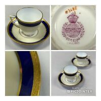 Minton Demitasse/Tea Cup And Saucer Cobalt Blue, Ivory White, Gold -H3688 (S3)
